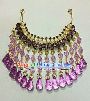Traditional Handmade Chinese Ancient Classical Hair Accessories Purple Crystal Tassel Frontlet Hair Comb for Women