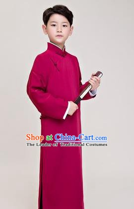 Traditional Chinese Republic of China Costume Wine Red Long Robe, China National Comic Dialogue Clothing for Kids
