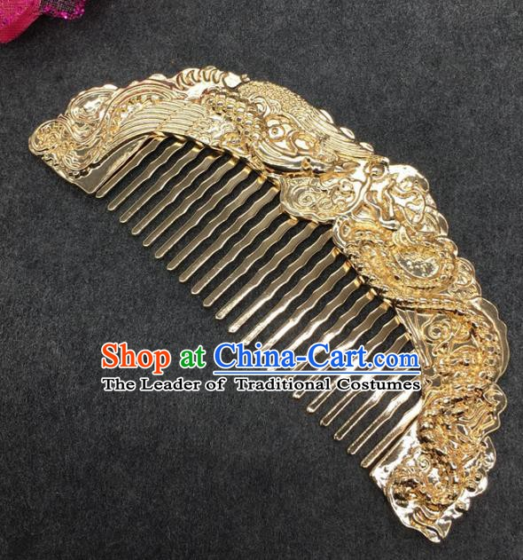 Traditional Handmade Chinese Ancient Classical Hair Accessories Golden Hair Comb for Women