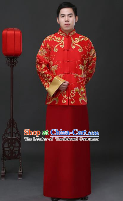 Ancient Chinese Wedding Costume China Traditional Bridegroom Embroidered Red Toast Clothing for Men