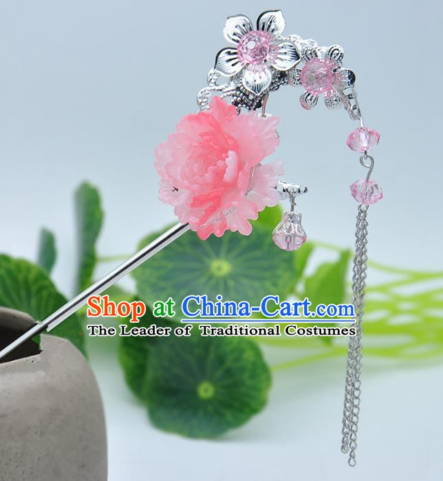 Traditional Handmade Chinese Ancient Classical Hair Accessories Pink Flower Hairpins Tassel Step Shake for Kids