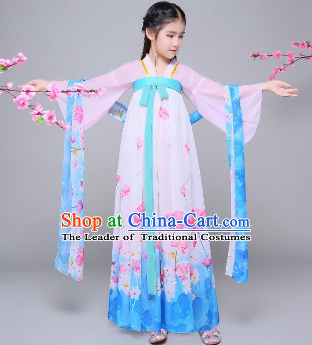 Traditional Chinese Tang Dynasty Palace Lady Costume, China Ancient Princess Hanfu Dress Clothing for Kids