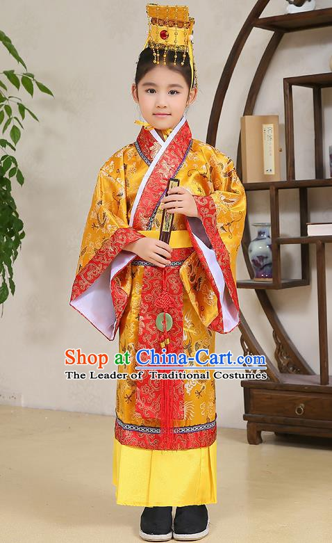 Traditional Chinese Han Dynasty Children Emperor Costume, China Ancient Majesty Hanfu Embroidered Clothing for Kids