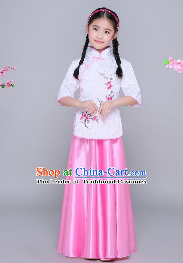 Traditional Chinese Republic of China Children Clothing, China National Embroidered Wintersweet White Blouse and Skirt for Kids