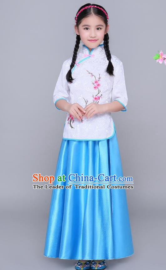 Traditional Chinese Republic of China Children Clothing, China National Embroidered Wintersweet White Blouse and Blue Skirt for Kids