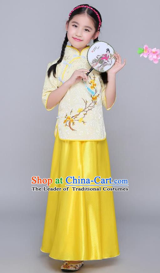 Traditional Chinese Republic of China Children Clothing, China National Embroidered Wintersweet Yellow Blouse and Skirt for Kids