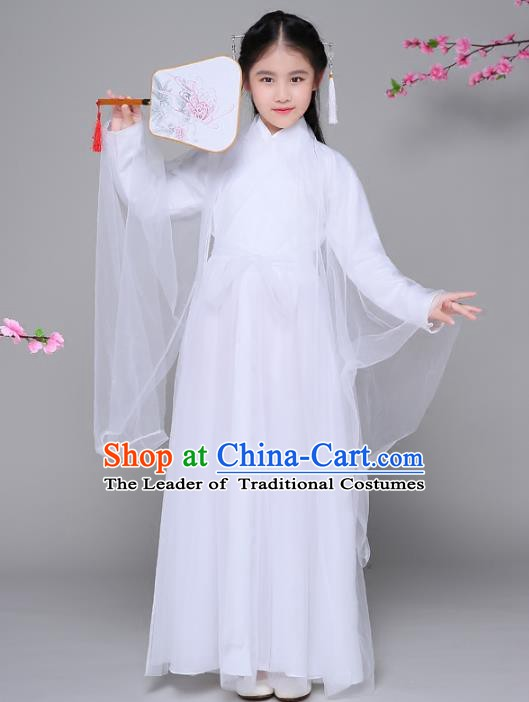 Traditional Chinese Han Dynasty Princess Costume, China Ancient Palace Lady Fairy Hanfu Embroidered Dress for Kids