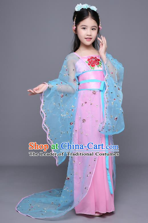 Traditional Chinese Tang Dynasty Imperial Concubine Embroidered Costume, China Ancient Palace Lady Hanfu Clothing for Kids