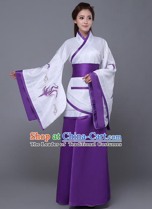 Traditional Chinese Han Dynasty Palace Lady Costume, China Ancient Princess Embroidered Hanfu Purple Curving-front Robe for Women