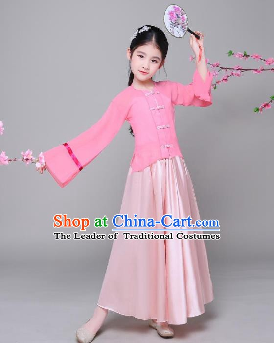 Traditional Chinese Ming Dynasty Children Costume, China Ancient Princess Embroidered Hanfu Clothing for Kids