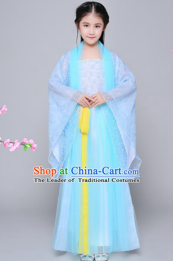 Traditional Chinese Tang Dynasty Palace Princess Costume, China Ancient Fairy Hanfu Embroidered Blue Dress for Kids
