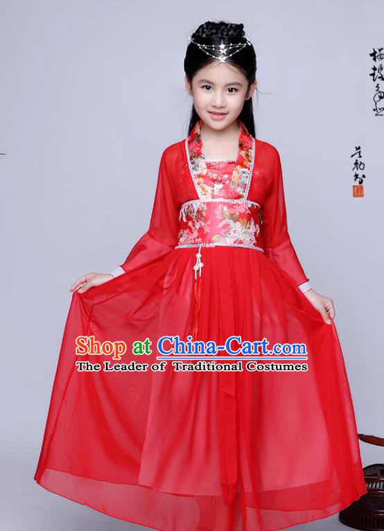 Traditional Chinese Tang Dynasty Seven Fairy Costume Ancient Princess Red Dress Clothing for Kids