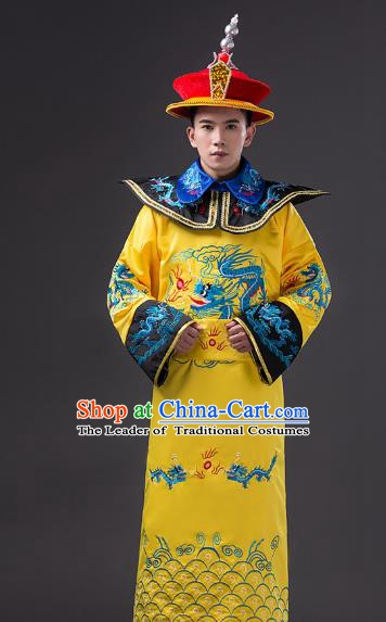 Traditional Chinese Qing Dynasty Emperor Costume, China Manchu Majesty Embroidered Dragon Robe for Men