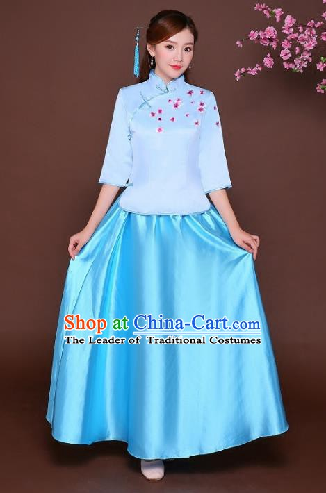 Traditional Chinese Republic of China Nobility Lady Clothing, China National Embroidered Blue Blouse and Skirt for Women