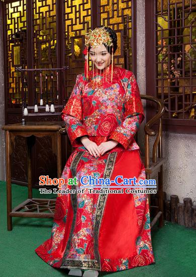 Chinese Traditional Wedding Costume Xiuhe Suits China Ancient Bride Embroidered Peony Clothing for Women