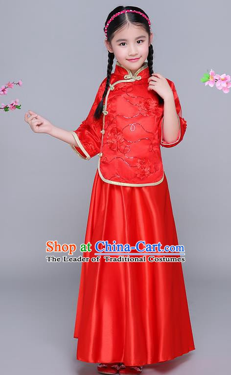 Traditional Chinese Republic of China Nobility Lady Clothing, China National Embroidered Red Blouse and Skirt for Kids