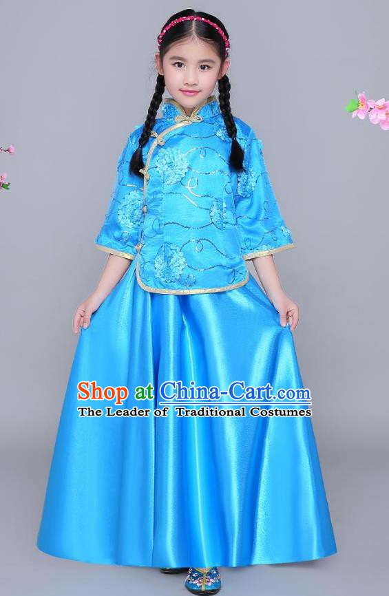 Traditional Chinese Republic of China Nobility Lady Clothing, China National Embroidered Blue Blouse and Skirt for Kids