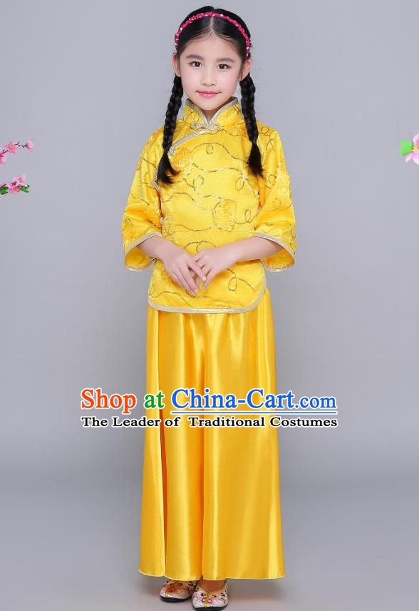 Traditional Chinese Republic of China Nobility Lady Clothing, China National Embroidered Yellow Blouse and Skirt for Kids