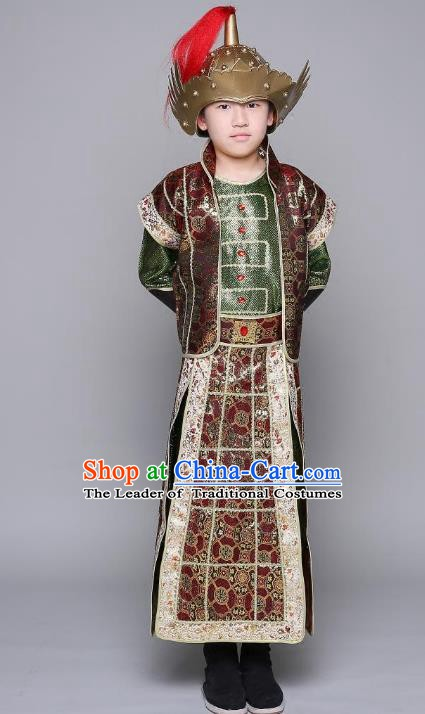 Traditional Chinese Tang Dynasty General Costume, China Ancient Warrior Armour Clothing for Kids