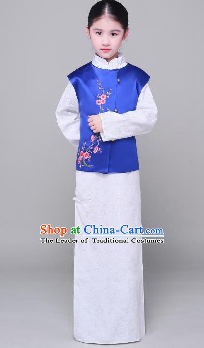 Traditional Chinese Republic of China Costume Embroidered Long Robe, China National Comic Dialogue Clothing for Kids