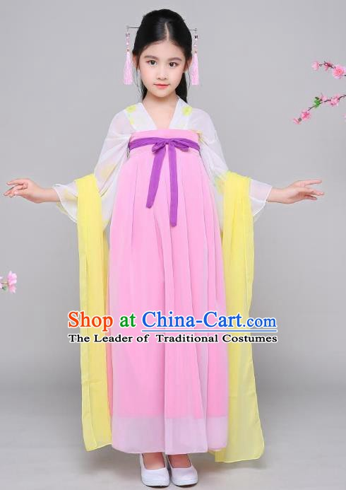 Traditional Chinese Tang Dynasty Palace Lady Fairy Costume, China Ancient Princess Hanfu Dress Clothing for Kids