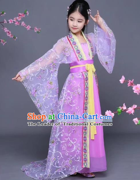 Traditional Chinese Tang Dynasty Children Imperial Consort Costume, China Ancient Palace Lady Hanfu Dress Clothing for Kids