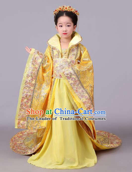 Traditional Chinese Tang Dynasty Imperial Empress Costume, China Ancient Palace Lady Hanfu Trailing Dress Clothing for Kids