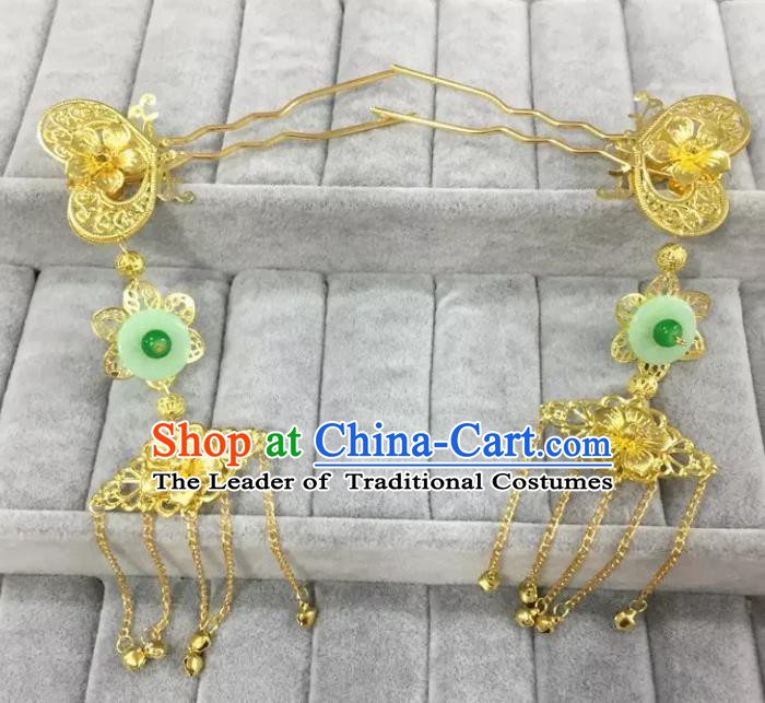 Traditional Handmade Chinese Classical Hair Accessories Hanfu Hairpins Tassel Step Shake for Women