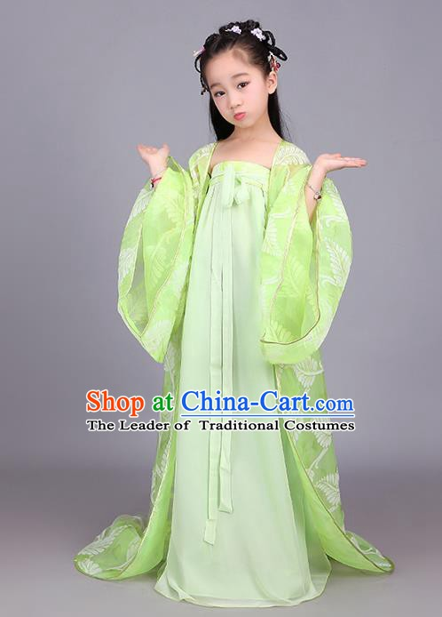 Traditional Ancient Chinese Princess Fairy Costume, China Tang Dynasty Palace Lady Trailing Embroidered Clothing for Kids