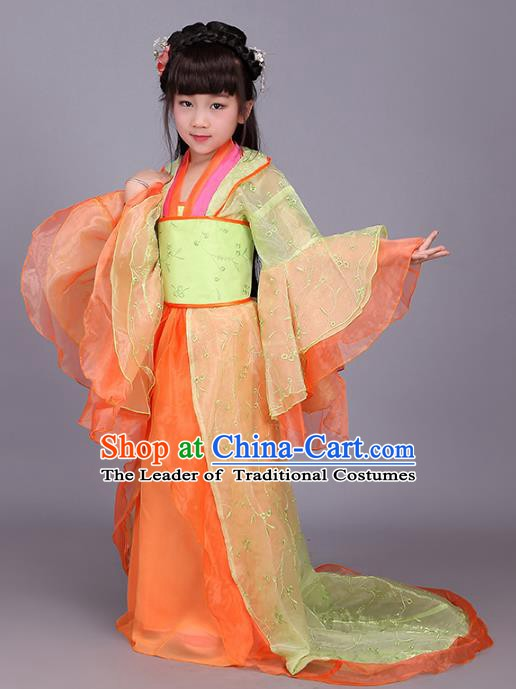 Traditional Ancient Chinese Imperial Princess Orange Costume, China Tang Dynasty Palace Lady Trailing Embroidered Clothing for Kids