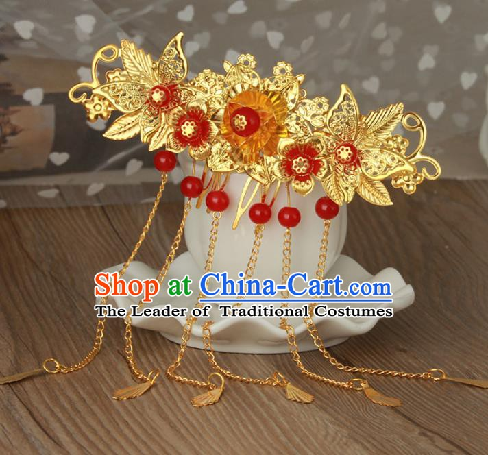 Traditional Handmade Chinese Classical Hair Accessories Hanfu Hairpins Golden Tassel Hair Comb for Women