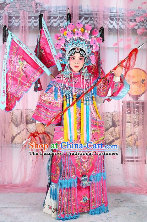Chinese Beijing Opera Female General Costume Embroidered Pink Armour, China Peking Opera Blues Embroidery Gwanbok Clothing