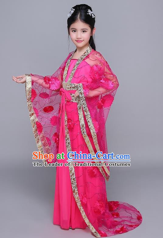 Traditional Chinese Tang Dynasty Fairy Palace Lady Costume, China Ancient Princess Hanfu Rosy Dress Clothing for Kids