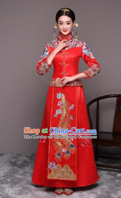 Ancient Chinese Wedding Costume Xiuhe Suits Traditional Women Embroidered Phoenix Flown Bride Toast Cheongsam