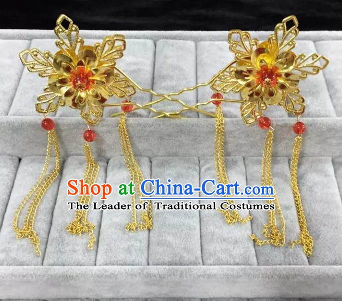 Traditional Handmade Chinese Classical Hair Accessories Golden Flowers Hairpins for Women