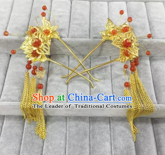 Traditional Handmade Chinese Classical Hair Accessories Tassel Step Shake Hairpins for Women