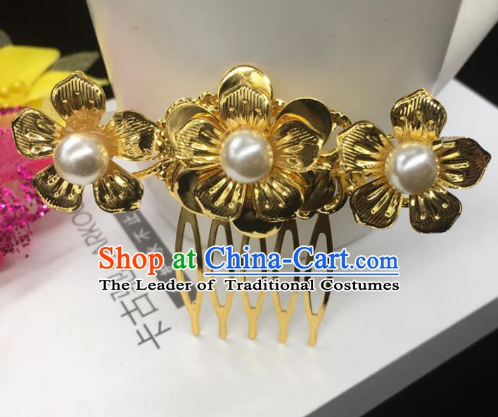 Traditional Handmade Chinese Classical Hair Accessories Flowers Hair Comb Hairpins for Women