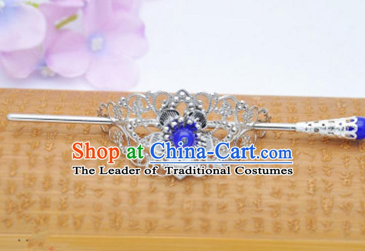 Traditional Handmade Chinese Classical Hair Accessories Hairpin Han Dynasty Nobility Childe Blue Bead Hairdo Crown for Men