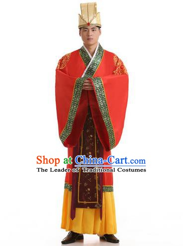 Traditional Chinese Han Dynasty Minister Costume, China Ancient Chancellor Hanfu Robe Clothing for Men