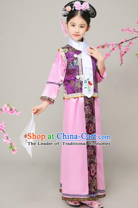Traditional Chinese Qing Dynasty Court Princess Pink Costume, China Manchu Palace Lady Embroidered Clothing for Kids