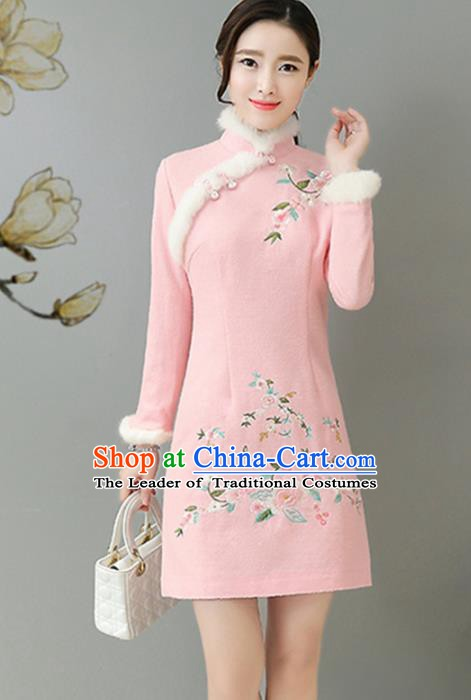 Traditional Chinese National Costume Hanfu Pink Embroidered Qipao, China Tang Suit Cheongsam Dress for Women