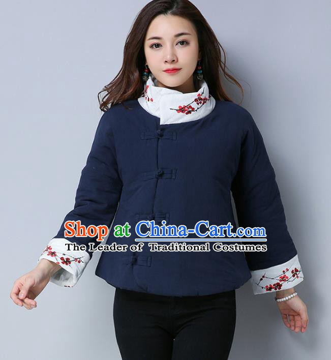 Traditional Chinese National Costume Hanfu Slant Opening Embroidered Cotton-padded Jacket, China Tang Suit Navy Coat for Women