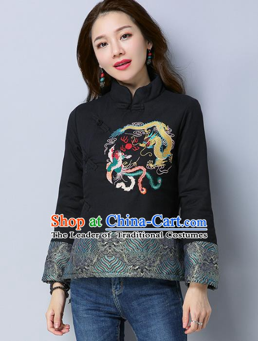 Traditional Chinese National Costume Hanfu Embroidered Dragons Black Cotton-padded Jacket, China Tang Suit Coat for Women