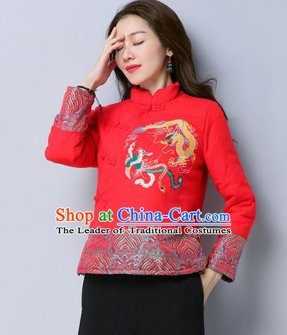 Traditional Chinese National Costume Hanfu Embroidered Dragons Red Cotton-padded Jacket, China Tang Suit Coat for Women
