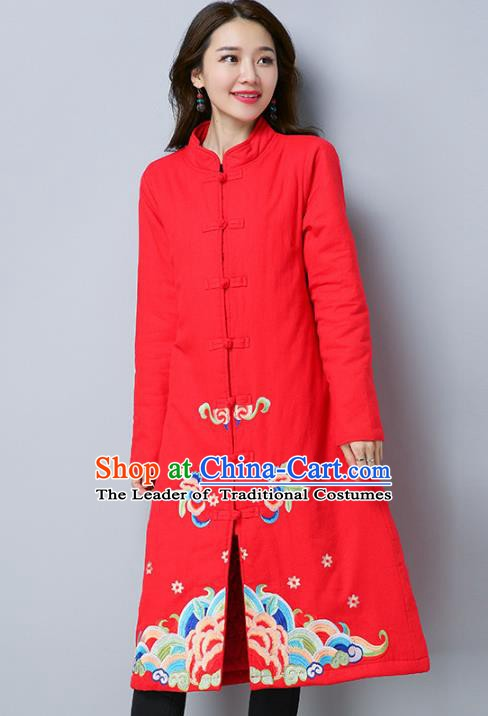Traditional Chinese National Costume Hanfu Embroidered Coats, China Tang Suit Red Dust Coat for Women