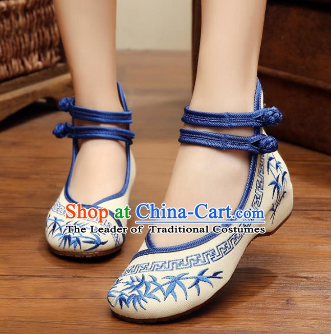 Asian Chinese Cloth Shoes Blue Embroidered Shoes, Traditional China Princess Shoes Hanfu Shoes for Women