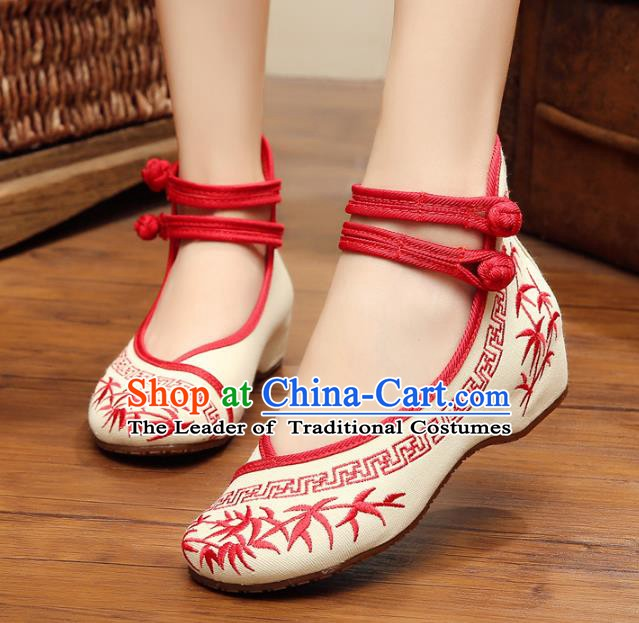 Asian Chinese Cloth Shoes Red Embroidered Shoes, Traditional China Princess Shoes Hanfu Shoes for Women