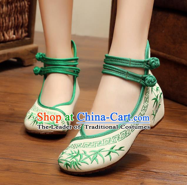 Asian Chinese Cloth Shoes Green Embroidered Shoes, Traditional China Princess Shoes Hanfu Shoes for Women