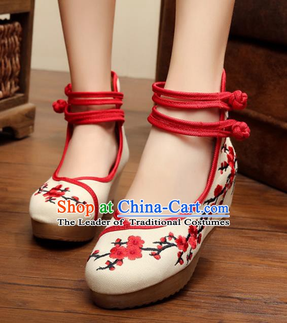 Asian Chinese Cloth Embroidered Shoes, Traditional China Princess Shoes Hanfu Embroidery Wintersweet Shoes for Women