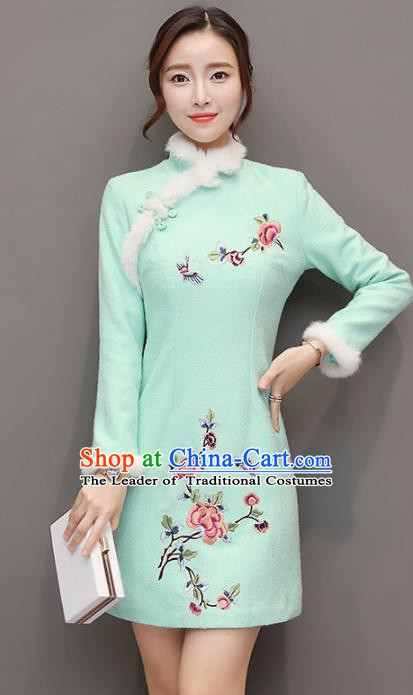 Traditional Chinese National Costume Hanfu Embroidered Butterfly Peony Green Qipao Dress, China Tang Suit Cheongsam for Women